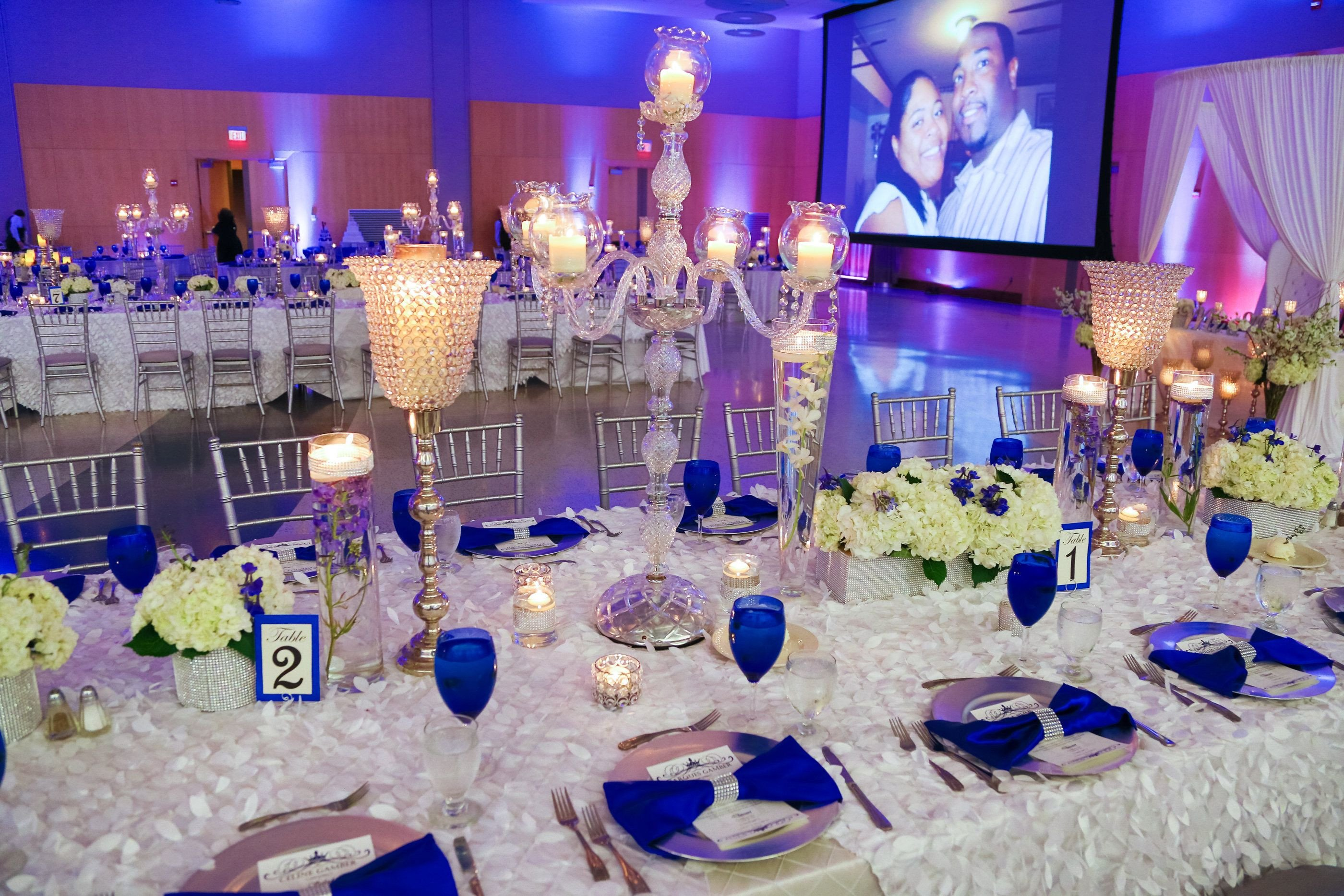Royal Blue Decor for Weddings Awesome Our Royal Blue and White Wedding Bridal Party Blue Wedding Reception Decor Candelabras