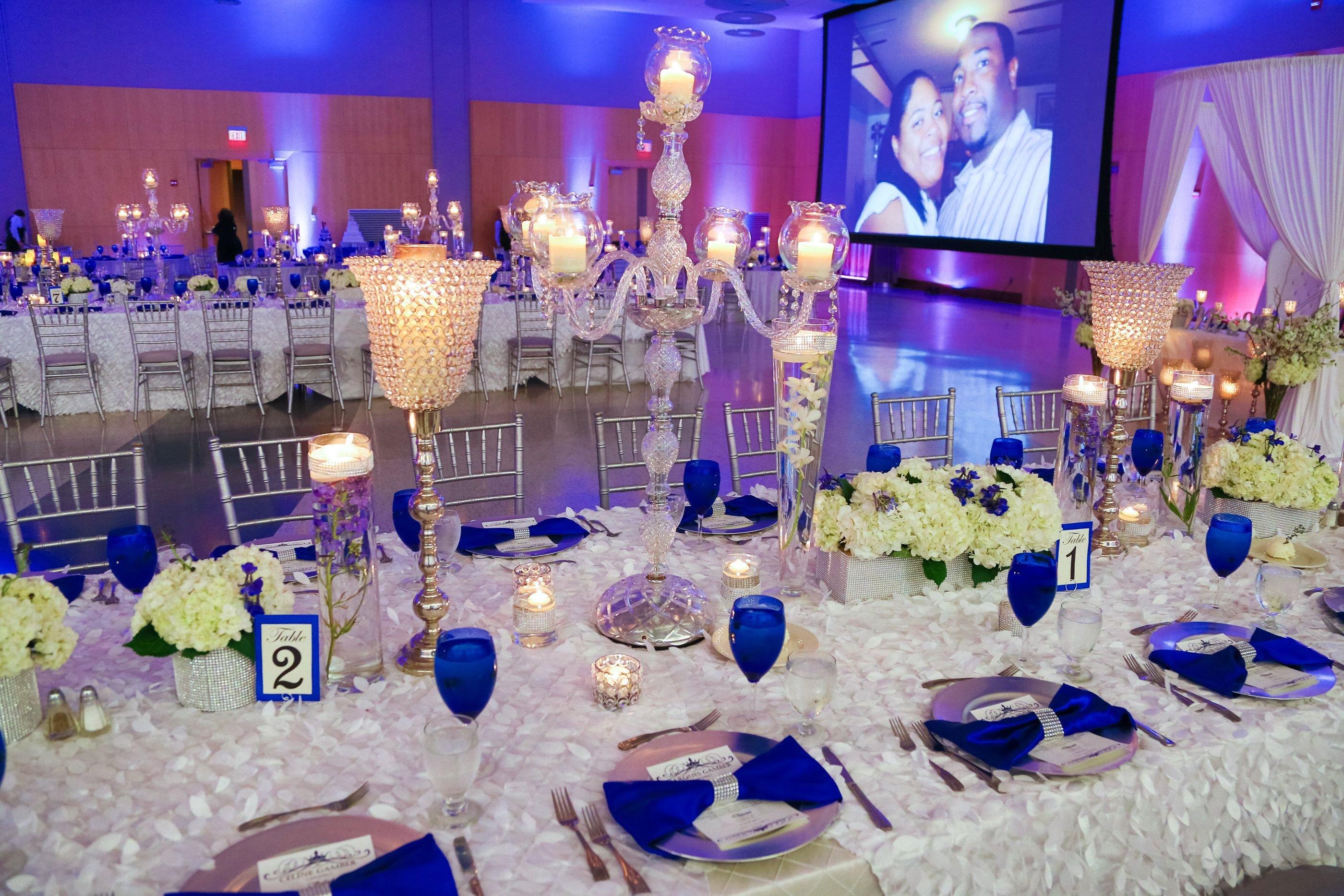 Royal Blue Decor for Weddings Awesome Our Royal Blue and White Wedding Bridal Party Blue Wedding Reception Decor Candelabras