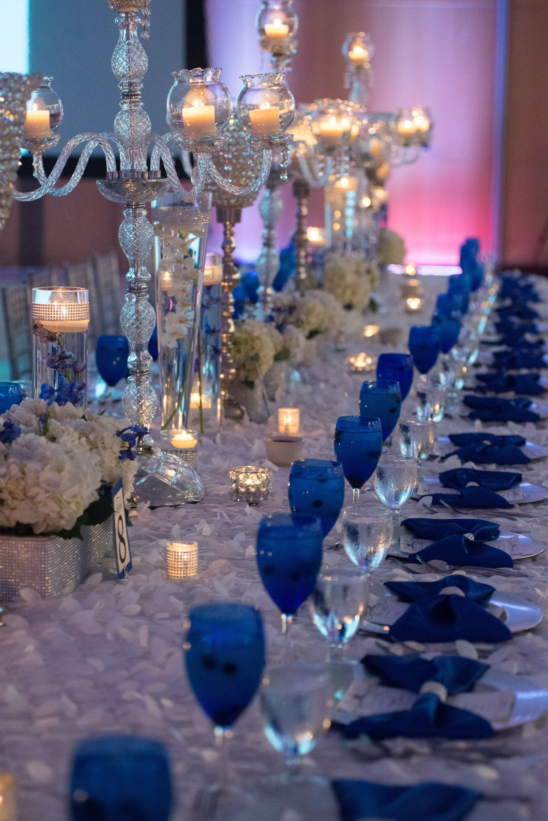 Royal Blue Decor for Weddings Awesome Our Royal Blue Wedding Family Styled Seating Reception Table Blue Goblets Blue Reception