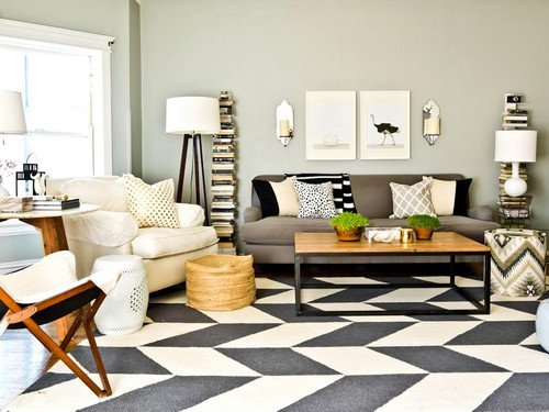 Rugs Contemporary Living Room Beautiful 25 Interior Design with Black and White Rugs