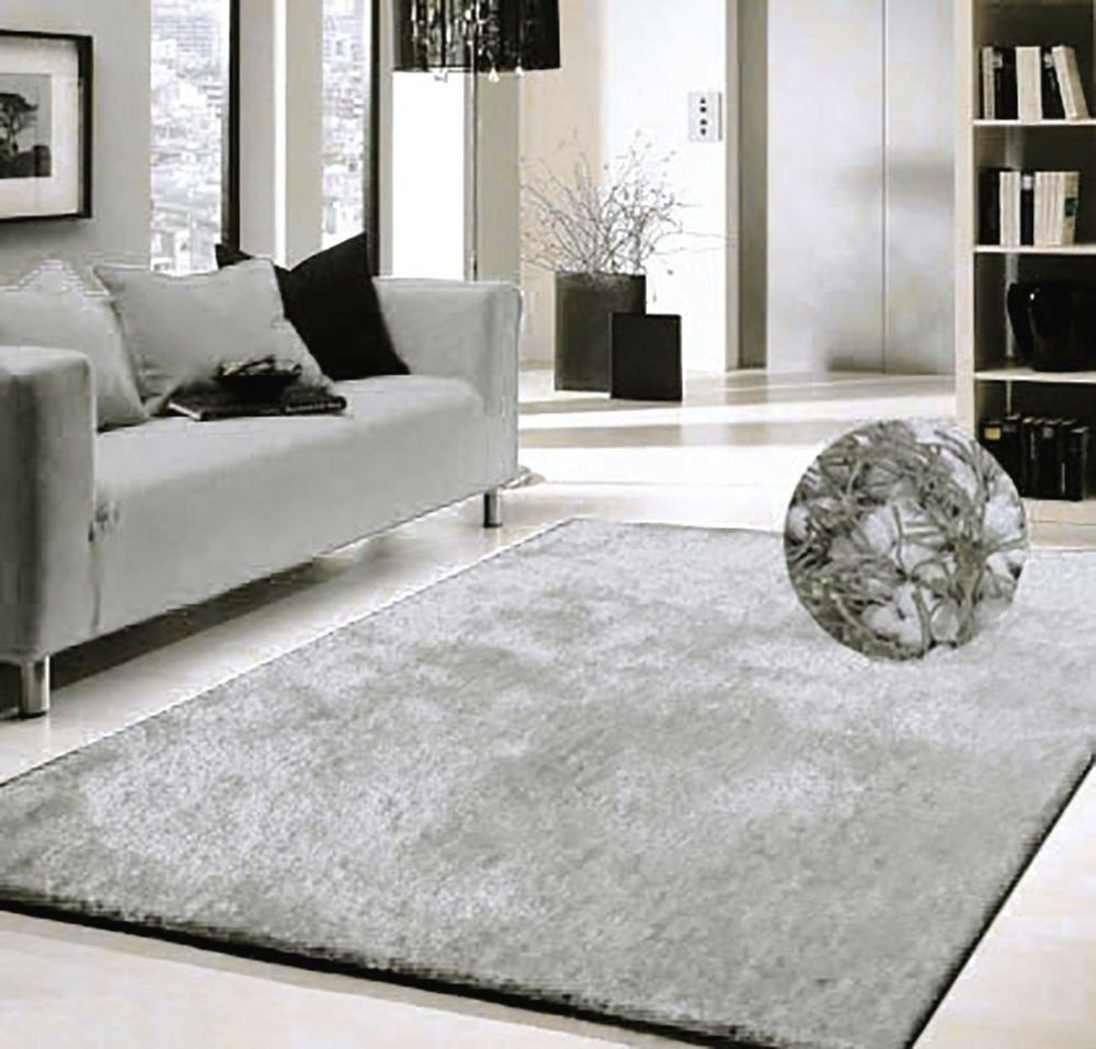 Rugs Contemporary Living Room Beautiful Modern Contemporary Shaggy area Rug 5 X7 Silver solid Shag Rug Living Room