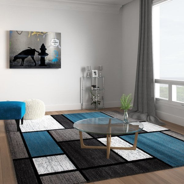 "Rugs Contemporary Living Room Beautiful Shop Contemporary Modern Boxes Blue Grey area Rug 7 10 X 10 2 7 10"" X 10 2"" Sale Free"