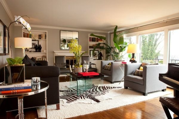 Rugs Contemporary Living Room Fresh 5 Rooms Featuring A Zebra Print Rug