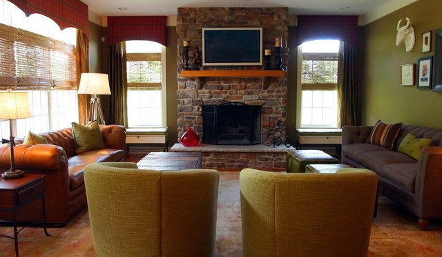 Rustic Traditional Living Room Awesome Warm and Rustic Family Room Traditional Living Room Philadelphia by Shoshana Gosselin