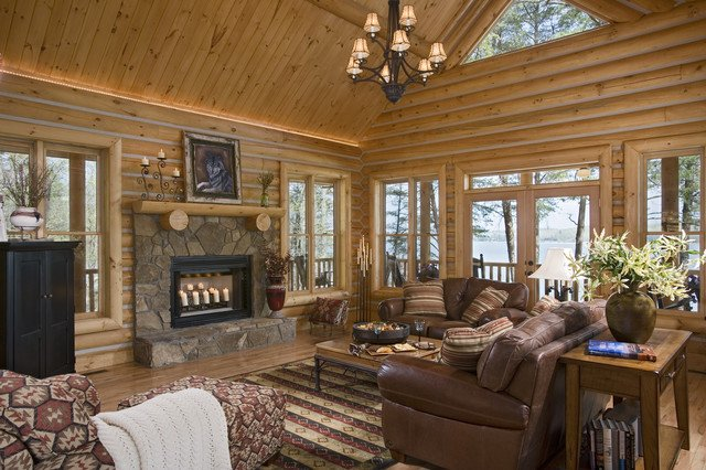 Rustic Traditional Living Room Elegant Living area In Rustic Round Log Home Traditional Living Room atlanta by Sisson Dupont