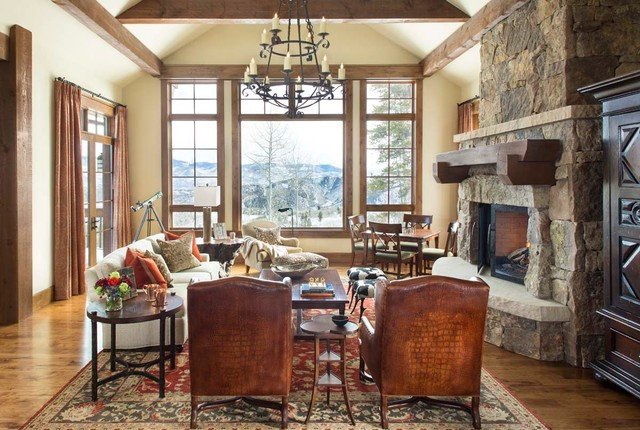 Rustic Traditional Living Room Elegant Mountain Traditional Rustic Living Room Denver by Slifer Designs