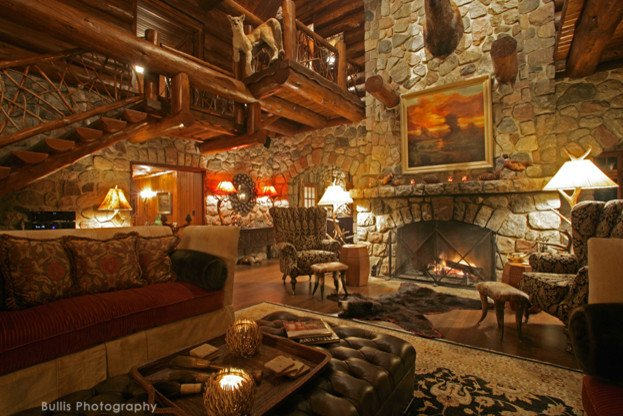 Rustic Traditional Living Room Elegant Rustic Old World Lodge