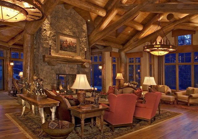 Rustic Traditional Living Room Lovely Rustic Log Home Traditional Living Room Denver by 186 Lighting Design Group Gregg Mackell