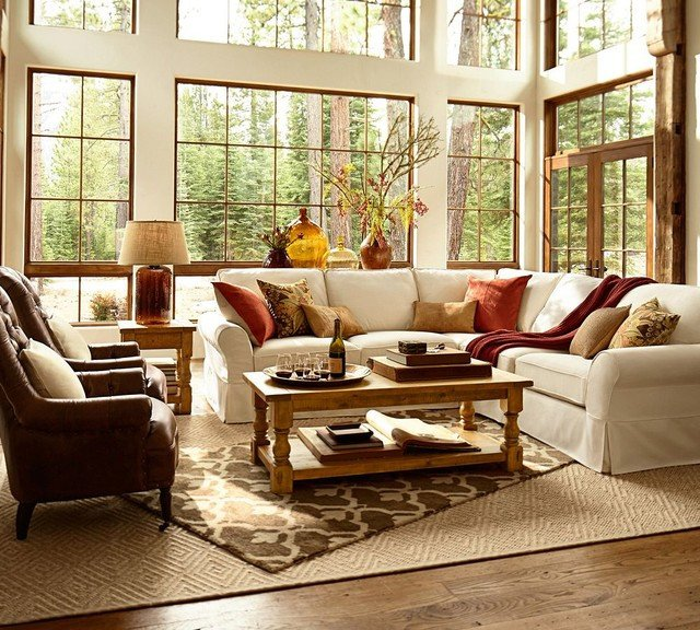 Rustic Traditional Living Room Luxury Pottery Barn