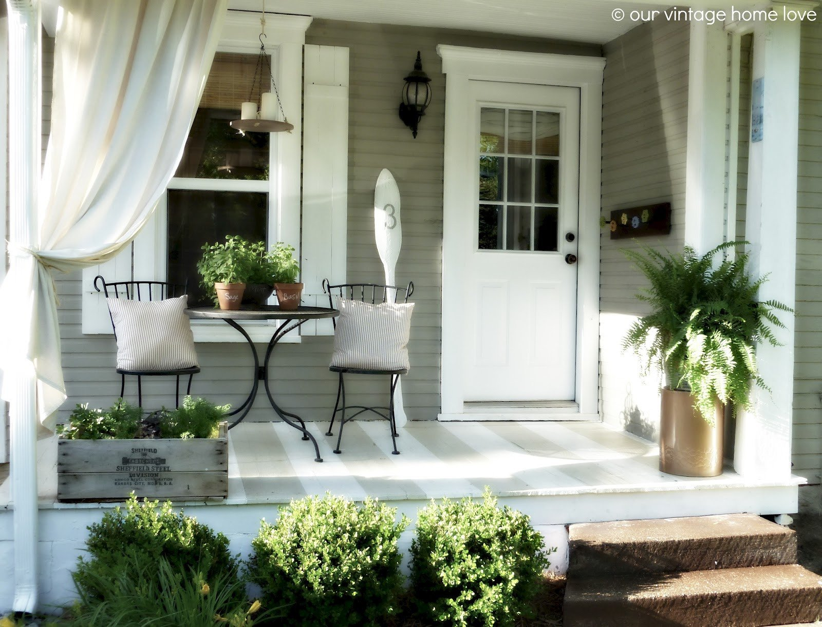 Small Front Porch Decor Ideas Awesome Vintage Home Love Back Side Porch Ideas for Summer and An Industrial Pipe Curtain Rod How to