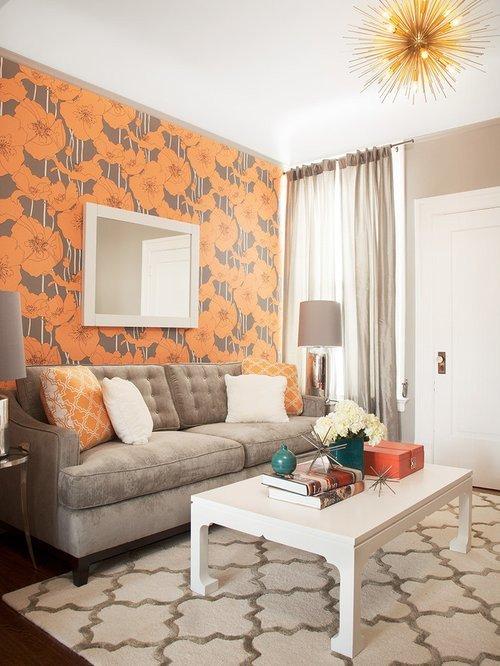 Small Gray Living Room Ideas Unique Gray and orange Living Room Home Design Ideas Remodel and Decor