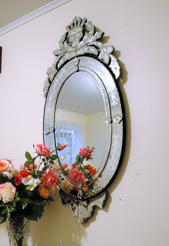 "Small Mirrors for Wall Decor Beautiful 48"" X 22"" Clear Venetian Art Deco Mirror Wall Decor"