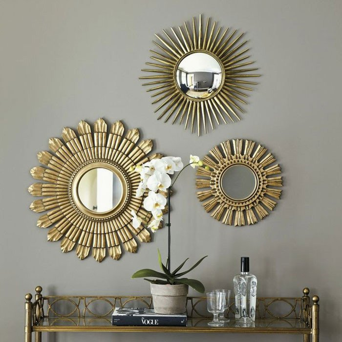 Small Mirrors for Wall Decor Elegant Mirrors Stunning Set Three Round Wall Mirror Sets Decorative Decoration Square Small Framed 3