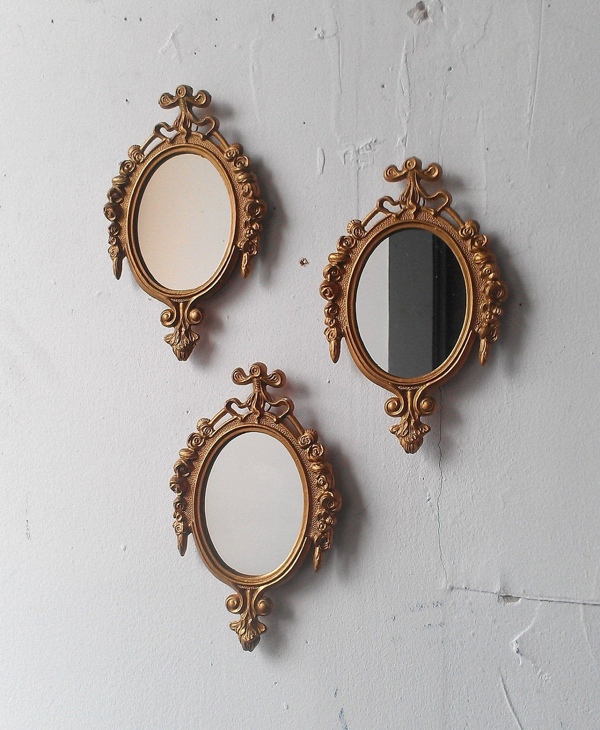 Small Mirrors for Wall Decor Fresh Gold Framed Mirror Set Of Three In Small ornate Vintage Frames