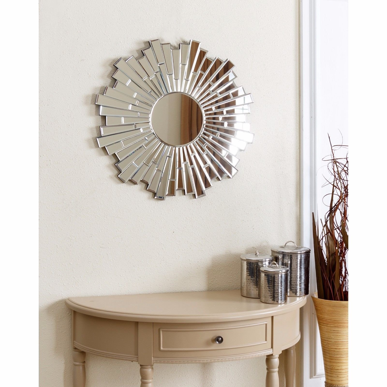 Small Mirrors for Wall Decor Inspirational Round Wall Mirror Modern Sunburst Contemporary Accent Wood Decor Silver Home New