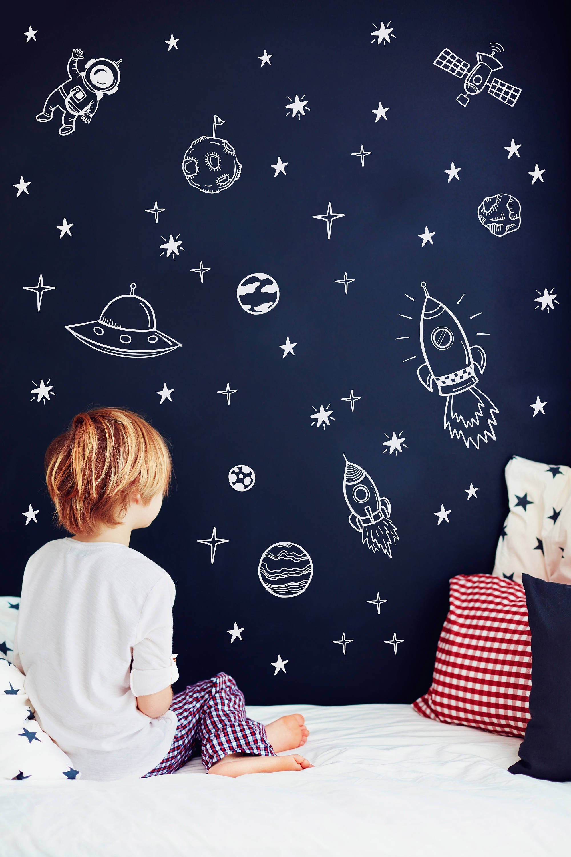 Space Room Decor for Kids Lovely Space Wall Decals Outer Space Nursery Decor Rocket Ship