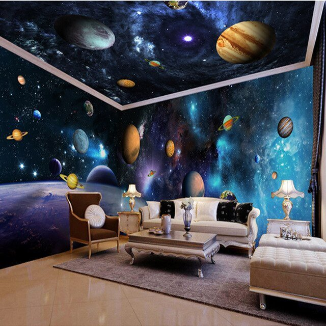 Space Room Decor for Kids New 3d Papel Parede Outer Space Decor 3d Cartoon Wallpaper Mural 3d Wall Sticker for Kids Room 3d