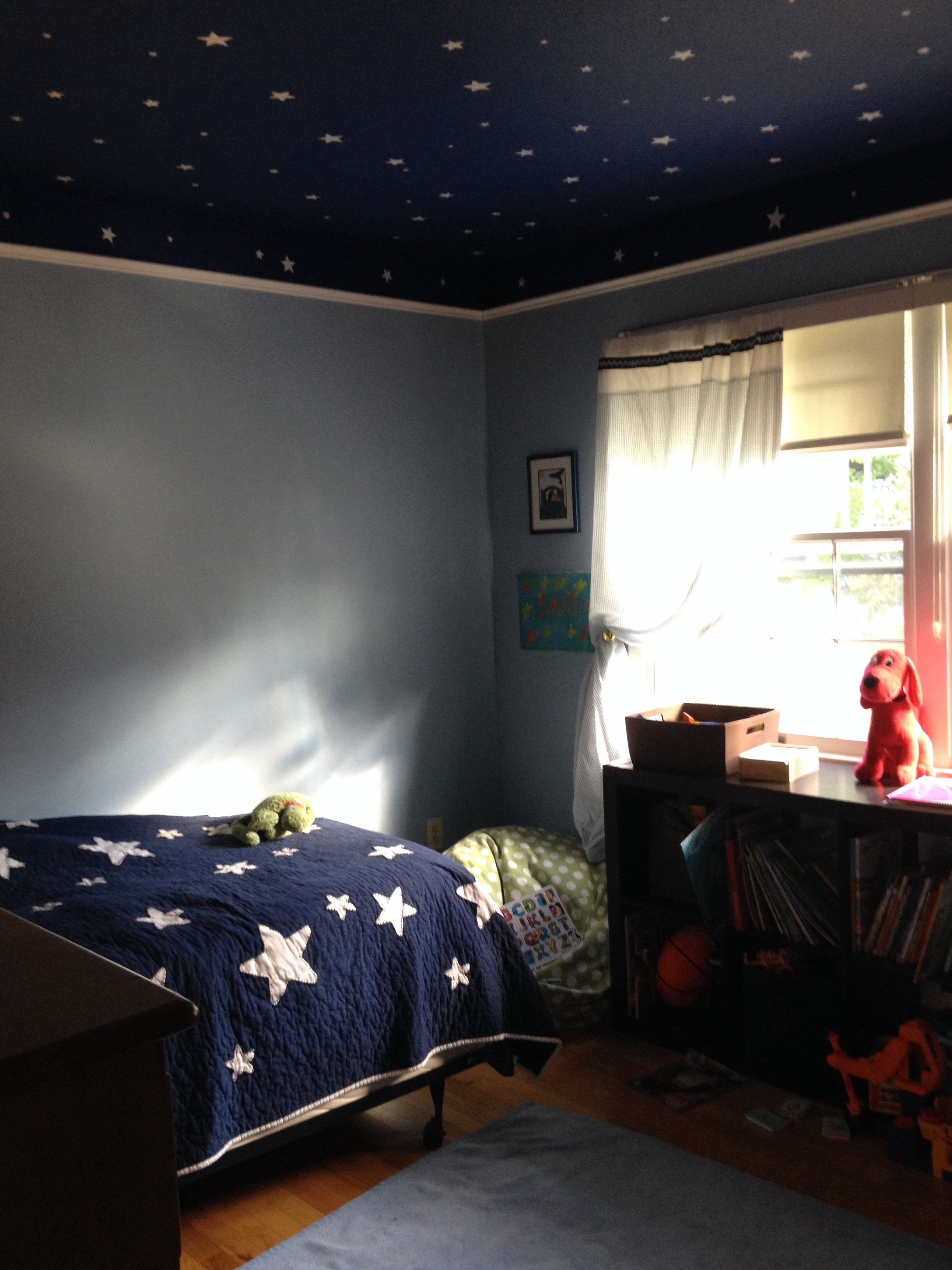 Space Room Decor for Kids New 4 Year Old Space Room I Love the Walls and Ceiling Space themed Room In 2019