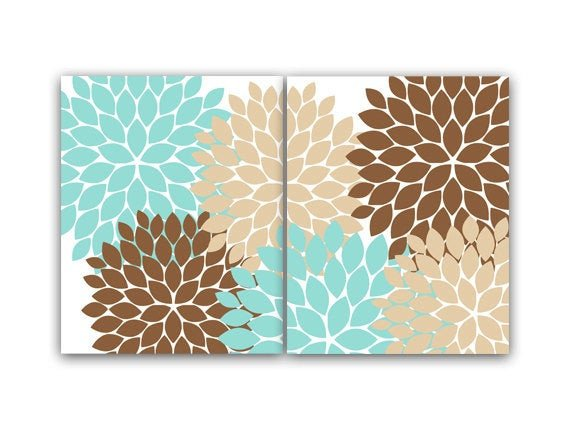 Teal and Brown Bathroom Decor Beautiful Home Decor Wall Art Teal and Brown Flower Canvas Burst Art