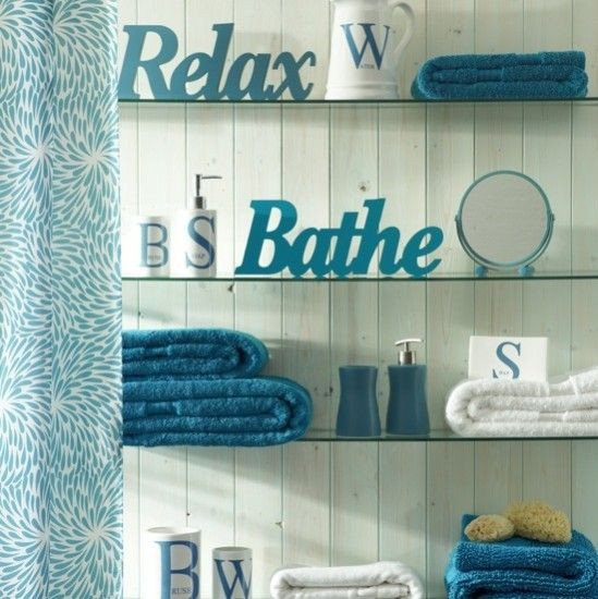 Teal and Brown Bathroom Decor Unique Cool Teal Bathroom Glass Shelves and White 3 D Words Dream Home Ideas