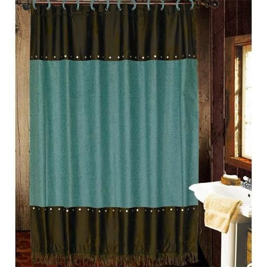Teal and Brown Bathroom Decor Unique Teal & Brown tooled Shower Curtain Bathroom