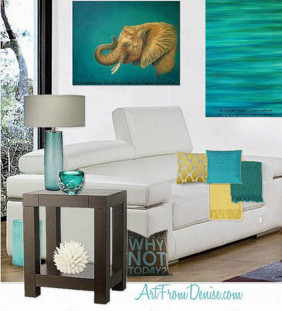 Teal and Brown Home Decor Beautiful Teal Decor Turquoise and orange Yellow From Artfromdenise