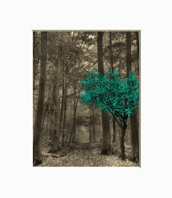Teal and Brown Home Decor Elegant Teal Brown Wall Teal Decor forest Trees Teal Brown