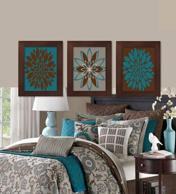 Teal and Brown Home Decor Elegant Wall Art Teal Brown Dahlia Flower Bloom by Lovelyfacedesigns