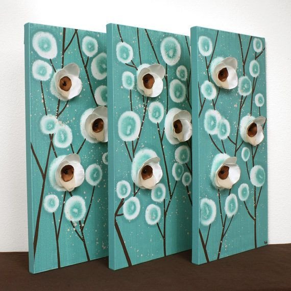 Teal and Brown Home Decor Fresh Teal and Brown Wall Art Home Decor Mixed Media Artwork On Canvas Triptych Painting Medium
