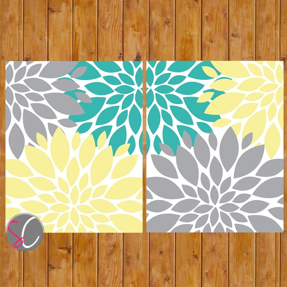 Teal and Gray Bathroom Decor Awesome Floral Flower Burst Gray Yellow Teal Wall Baby Decor Bedroom