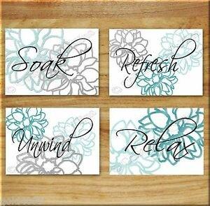 Teal and Gray Bathroom Decor Beautiful Teal Aqua Gray Wall Word Art Bathroom Bath Print Decor Dahlia Floral Flower Home