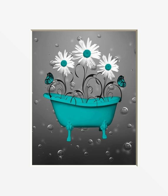 Teal Gray Wall Teal Bathroom Decor Teal Daisy
