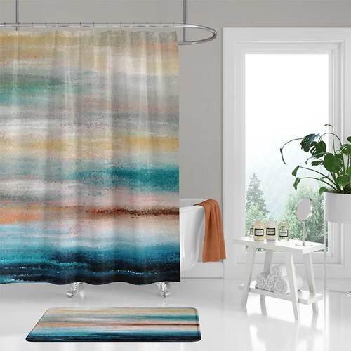 Teal and Gray Bathroom Decor New Abstract Shower Curtain and Bath Rug Coastal Decor Teal Gray