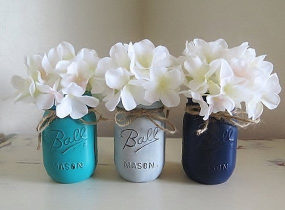 Teal and Gray Bathroom Decor New Grey Blue and Teal Distressed Mason Jars Rustic by Myheartbyhand