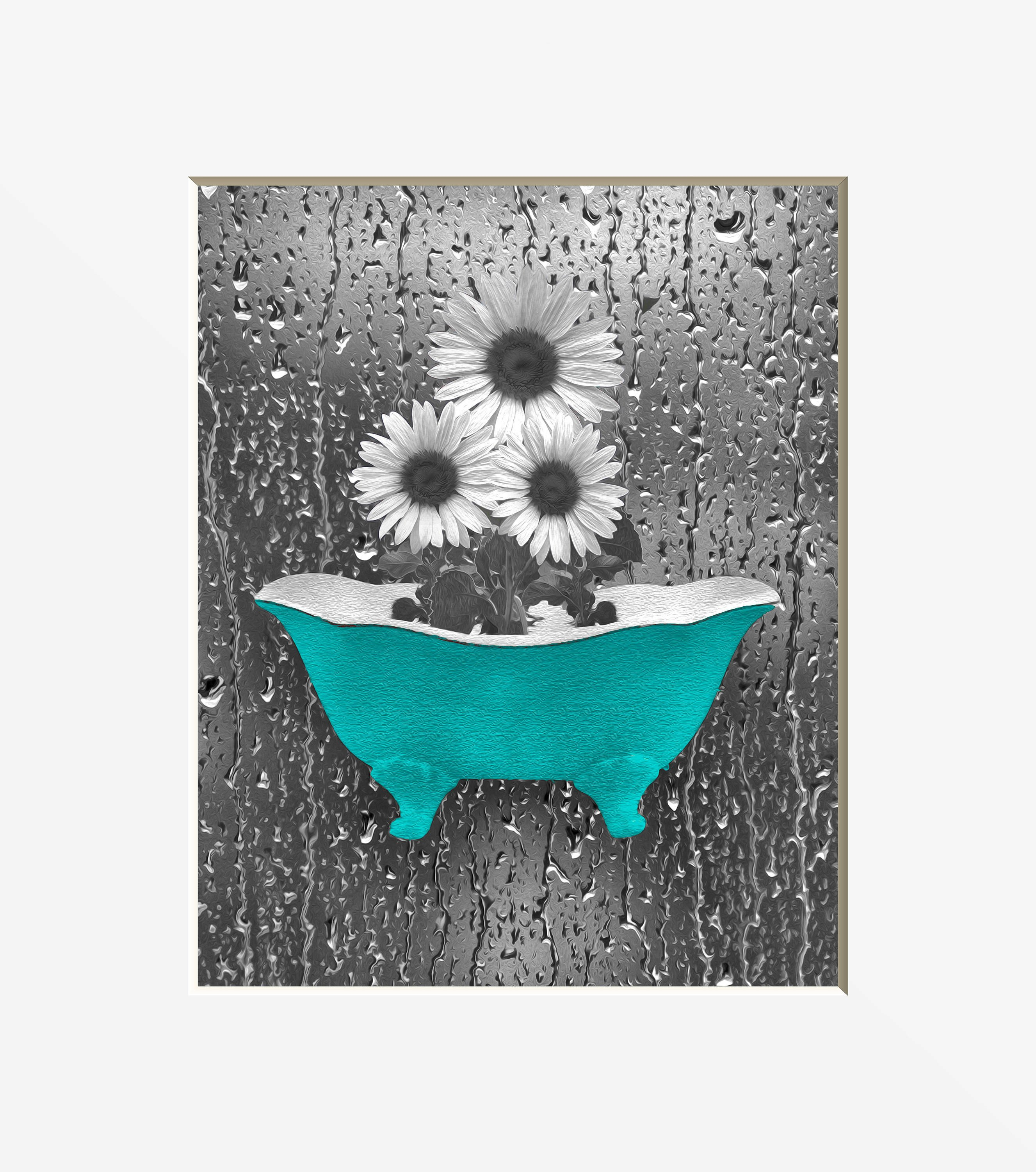 Teal and Gray Bathroom Decor Unique Sunflower Bathroom Decor Teal Gray Wall Art Sunflower