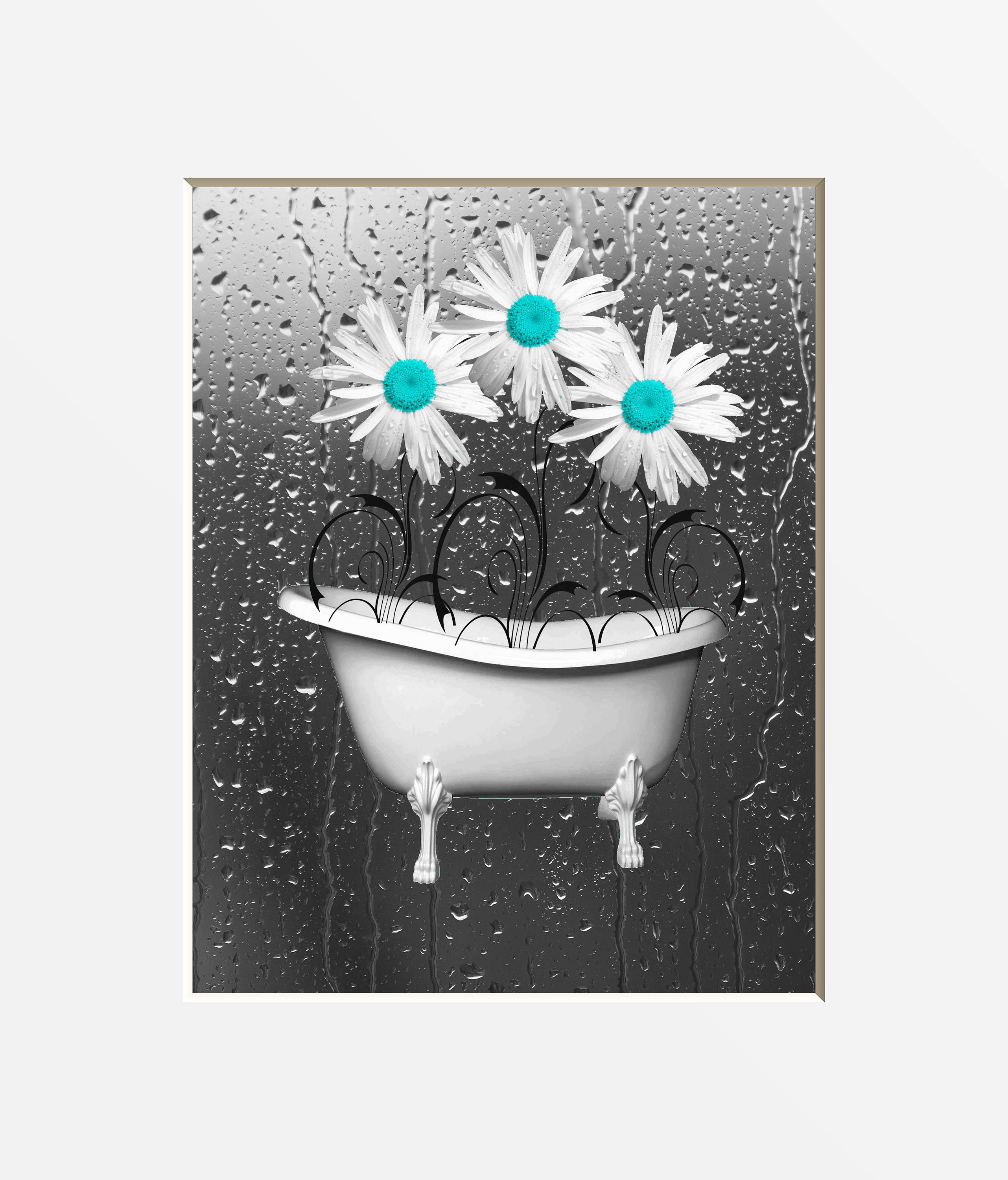 Teal and Gray Bathroom Decor Unique Teal Bathroom Wall Art Daisy Flowers Teal Gray Home Decor