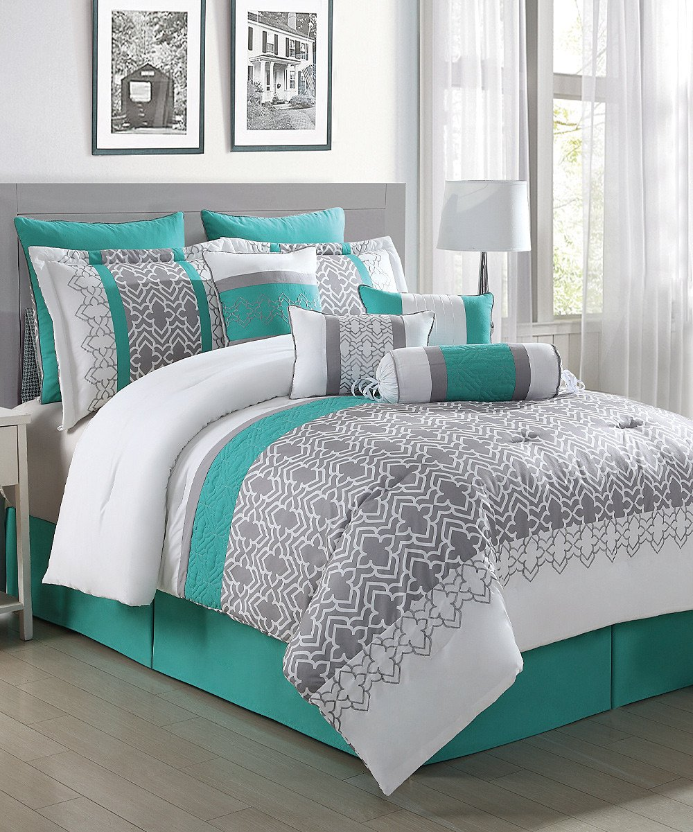 Teal and Gray Bedroom Decor Inspirational S L Home Fashions Gray White & Teal Luna 10 Piece forter Set