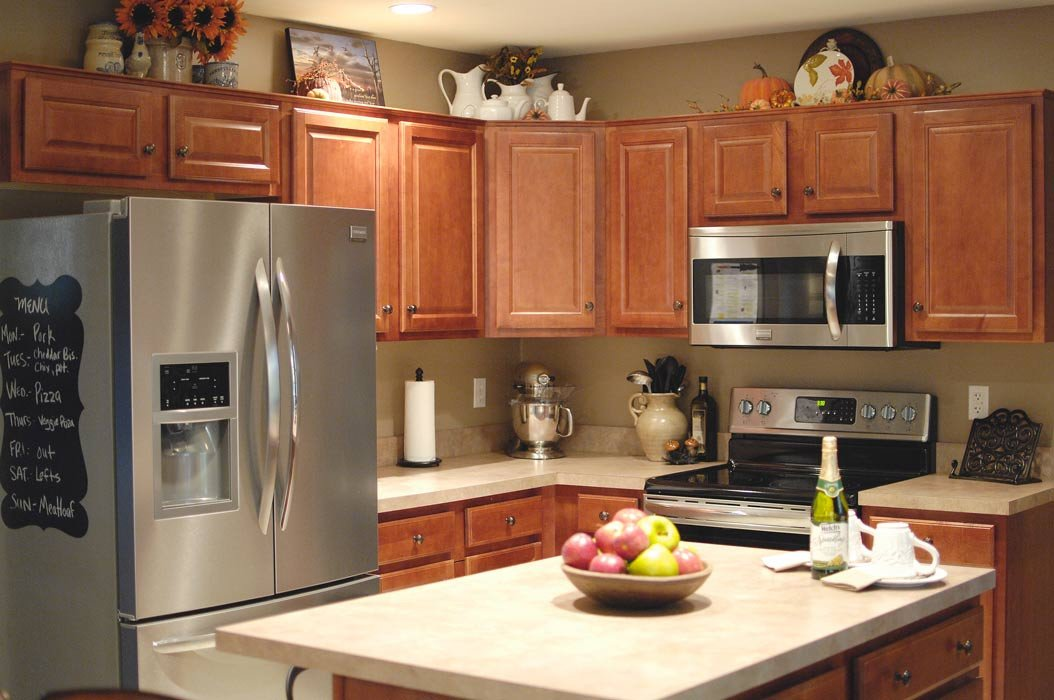 Top Of Kitchen Cabinets Decor Elegant Fall Kitchen Decor Living Rich On Lessliving Rich On Less