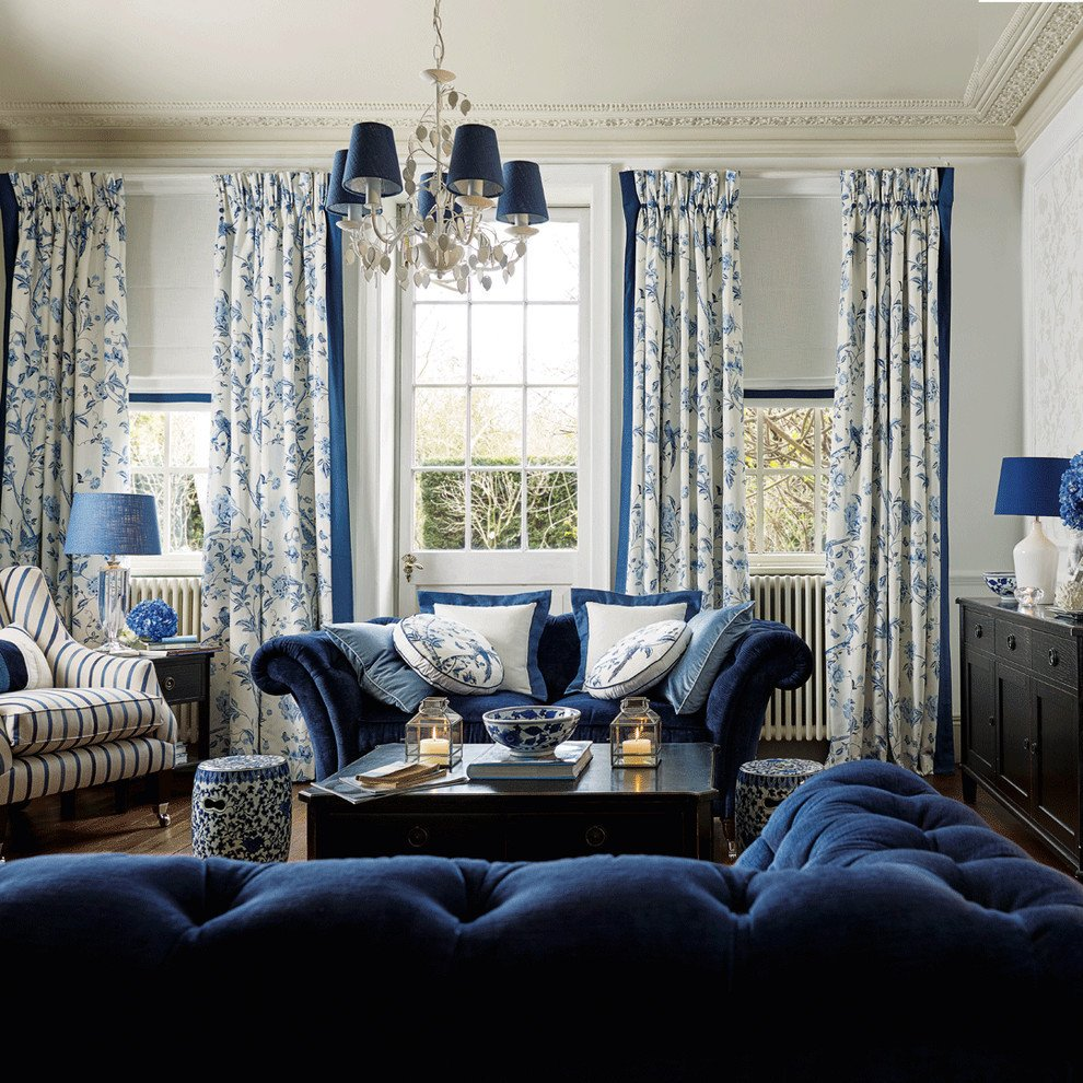 Chesterfield living room traditional with blue floral curtains chesterfields azules