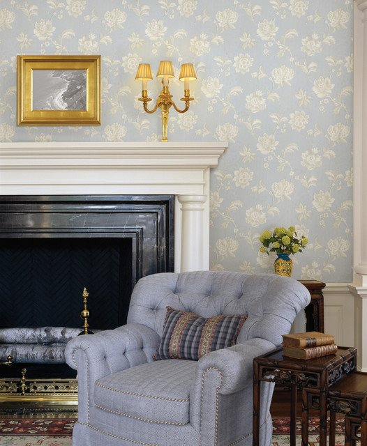 Traditional Blue Living Room Inspirational Blue Wallpaper Traditional Living Room Other Metro by Brewster Home Fashions