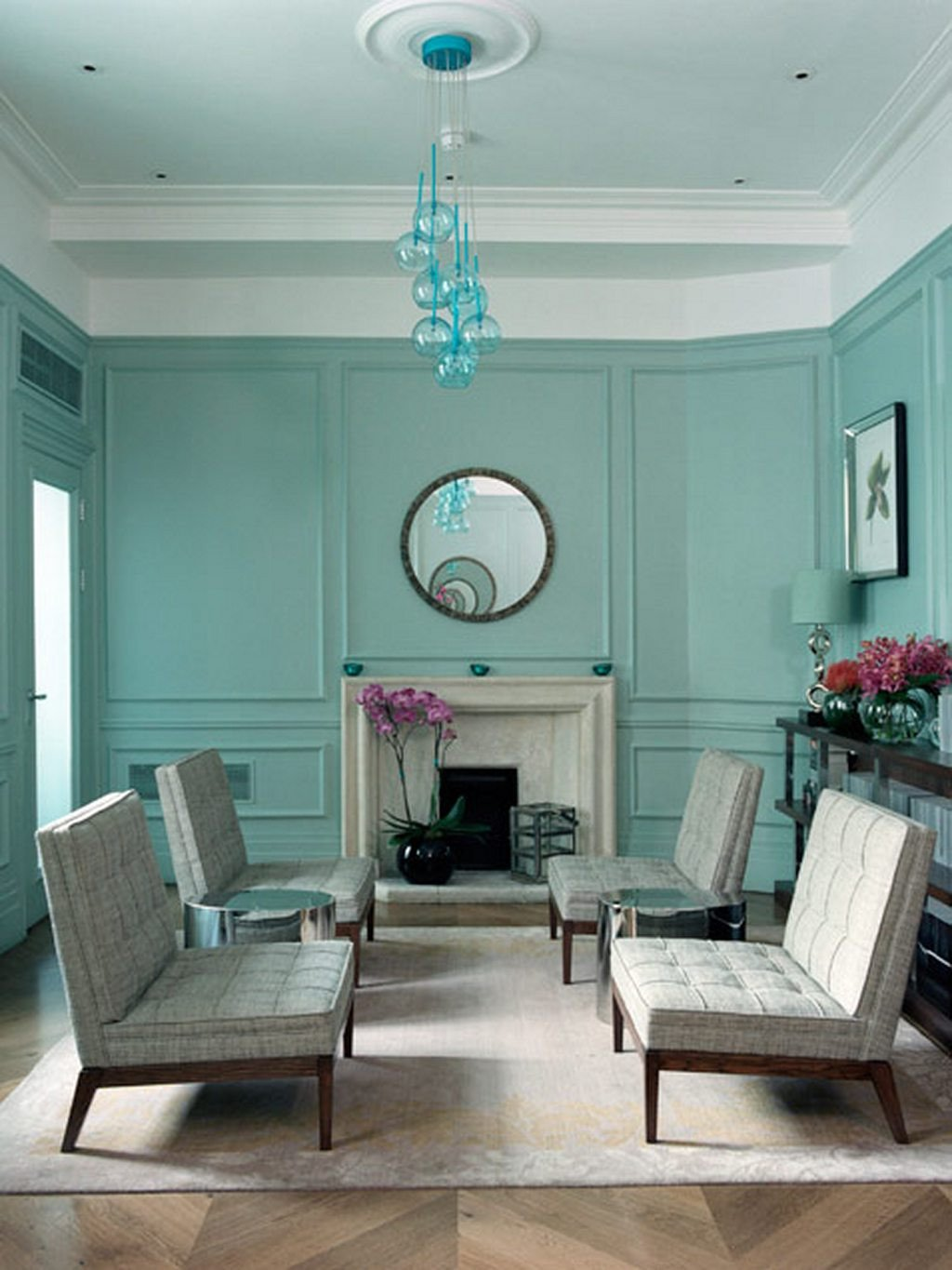 Traditional Blue Living Room Inspirational Traditional Blue Green Living Room In Midcentury Style
