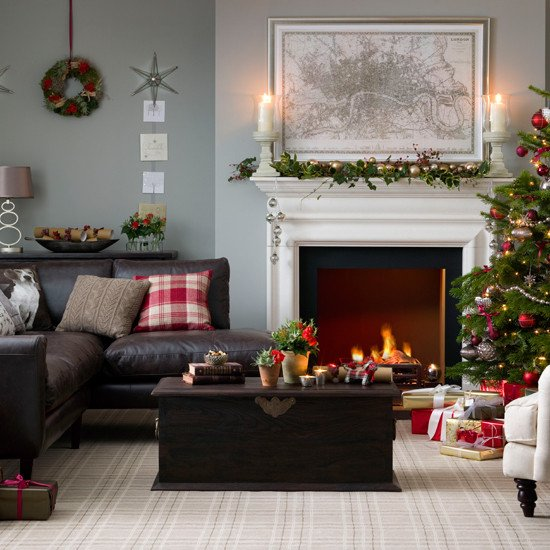 Traditional Christmas Living Room Awesome Traditional Neutral Festive Living Room