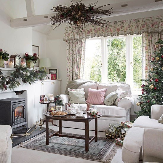 Traditional Christmas Living Room Fresh Country Floral Living Room Dressed for Christmas