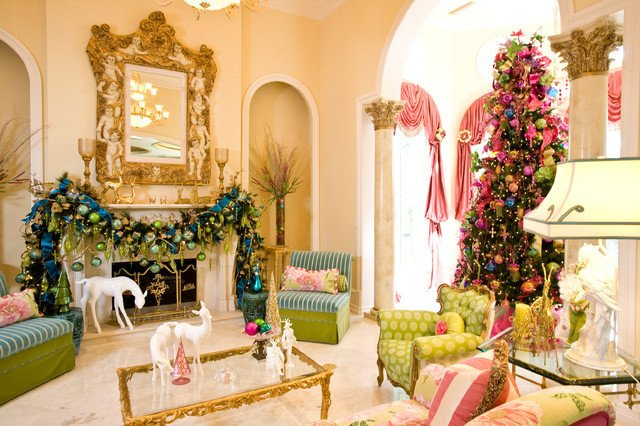 Traditional Christmas Living Room Luxury Christmas Interior Traditional Living Room Houston by Regina Gust Designs