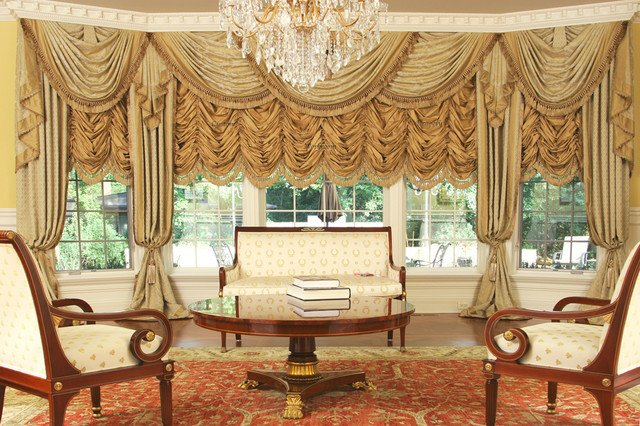 Traditional Draperies Living Room Awesome Custom and Luxury Drapery for Bay Window Traditional Living Room Chicago by Custom