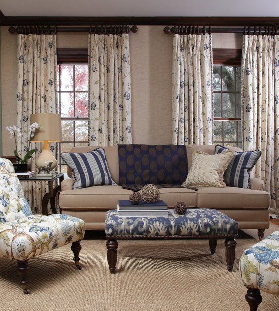 Traditional Draperies Living Room Lovely Blue Horizon Fabric Collection Traditional Living Room by Calico