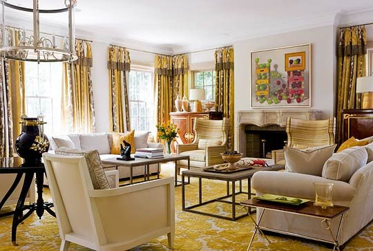 Traditional Draperies Living Room Luxury Traditional Decorating In Sunny Yellow