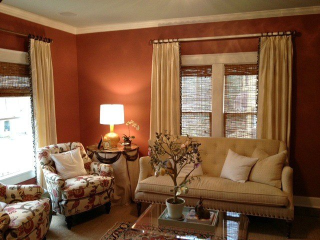 Traditional Draperies Living Room New Cream Silk Curtain Panels with Trim Down Leading Edge Traditional Living Room Nashville