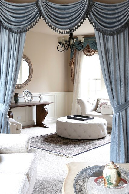 Traditional Draperies Living Room New Valance Curtains with Swags and Tails by Celuce Traditional Living Room Seattle by