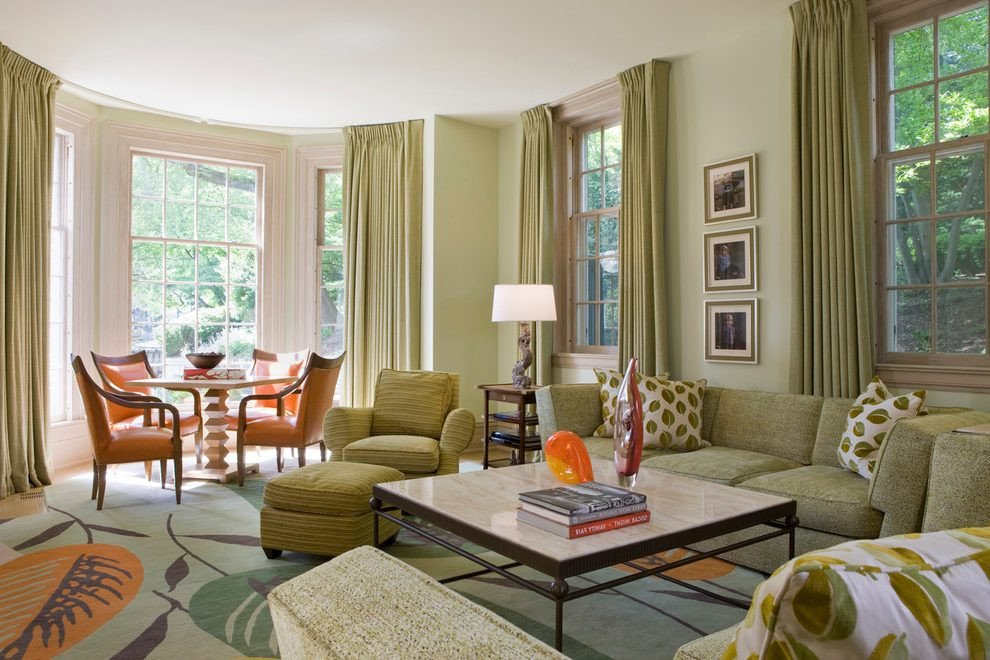 Traditional Green Living Room Awesome Green Living Room Traditional with Armchair Curtains and Drapes • Stylehomepark
